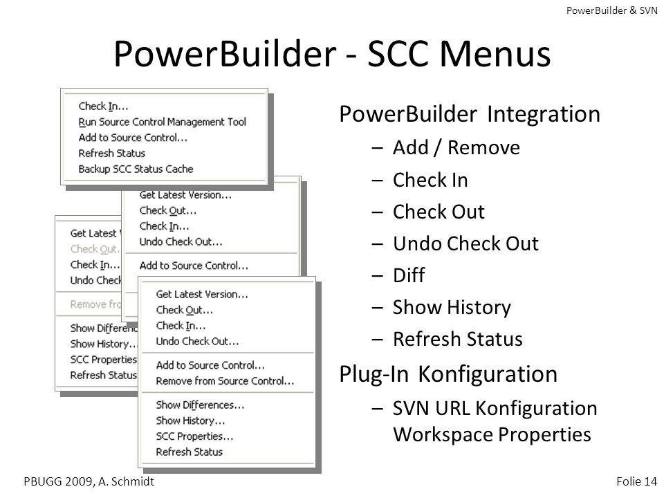 PowerBuilder & SVN PBUGG 2009, A. SchmidtFolie 13 PowerBuilder - SVN SCC Proxy SVN URL: svn://localhost/pbtutor SVN Module: trunk Achtung: Darstellung