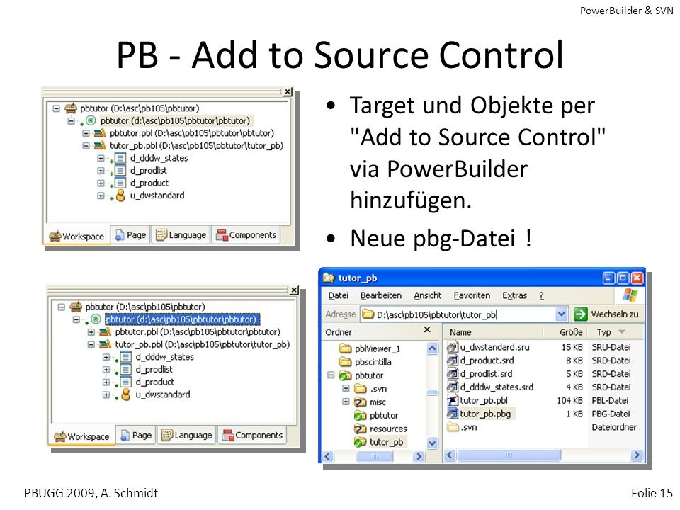 PowerBuilder & SVN PBUGG 2009, A. SchmidtFolie 14 PowerBuilder - SCC Menus PowerBuilder Integration –Add / Remove –Check In –Check Out –Undo Check Out