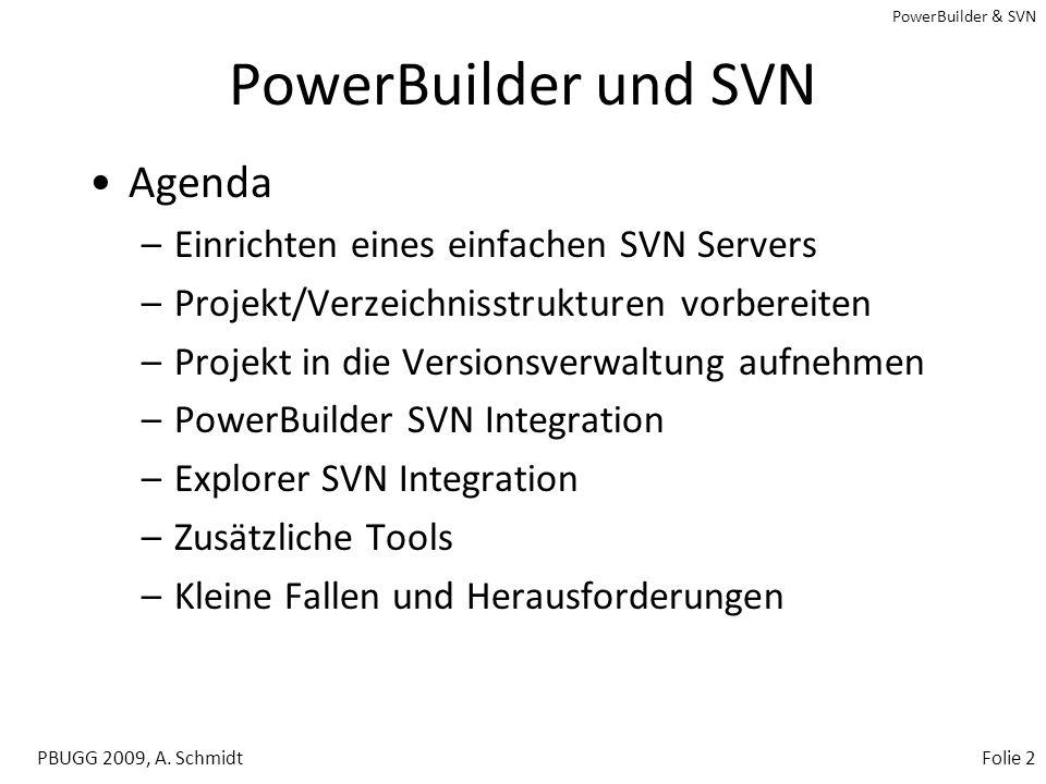 PowerBuilder & SVN PBUGG 2009, A. SchmidtFolie 1 PowerBuilder und SVN Erste Schritte bei der Versionsverwaltung von Softwareprojekten mit Subversion (
