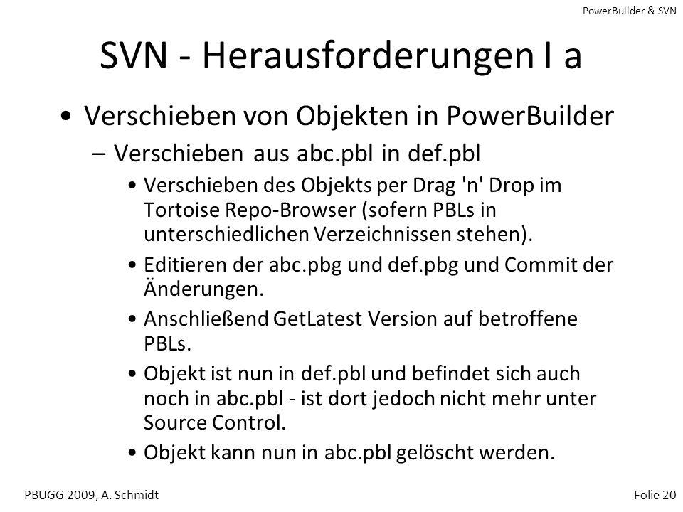 PowerBuilder & SVN PBUGG 2009, A. SchmidtFolie 19 Aufsetzen eines Developer Seats SVN Checkout per Tortoise SVN Bootstrapping –Orcascript –PowerGen (w