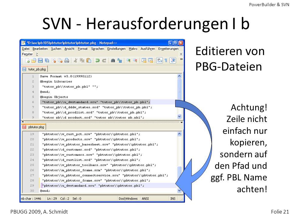 PowerBuilder & SVN PBUGG 2009, A. SchmidtFolie 20 SVN - Herausforderungen I a Verschieben von Objekten in PowerBuilder –Verschieben aus abc.pbl in def