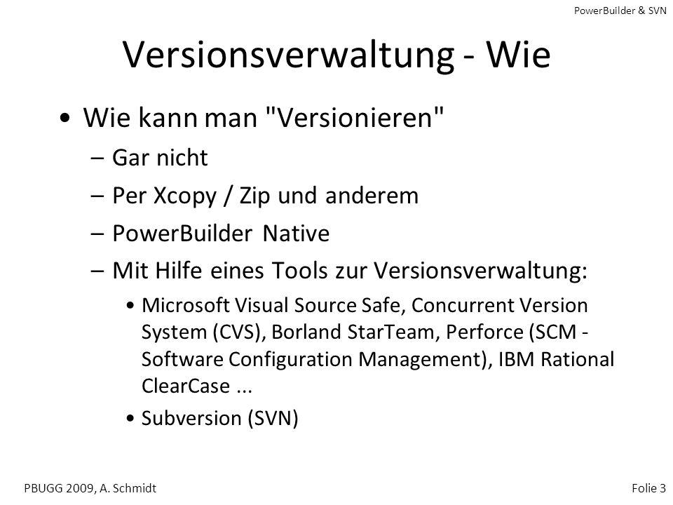 PowerBuilder & SVN PBUGG 2009, A. SchmidtFolie 2 PowerBuilder und SVN Agenda –Einrichten eines einfachen SVN Servers –Projekt/Verzeichnisstrukturen vo