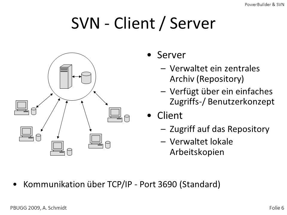 PowerBuilder & SVN PBUGG 2009, A. SchmidtFolie 5 Subversion (SVN) –Existiert seit 2000 –CollabNet, Inc., Brisbane, CA –Open-Source-Software –Versionsv