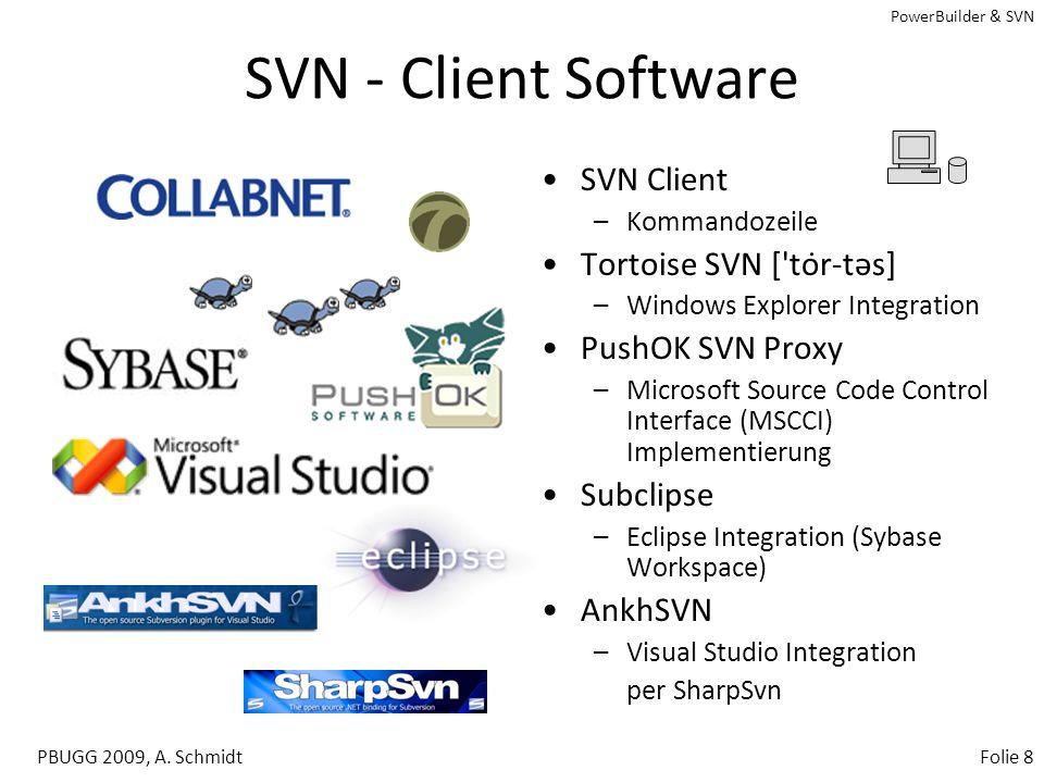 PowerBuilder & SVN PBUGG 2009, A. SchmidtFolie 7 SVN - Server Setup Download über www.trigris.org (z.B. svn-win32-1.5.6.zip) Unzip in ein Verzeichnis,