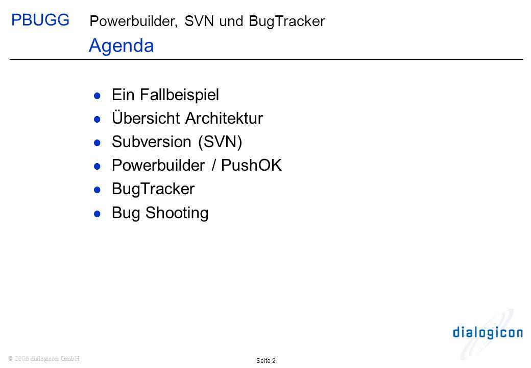 PBUGG Seite 2 © 2006 dialogicon GmbH Powerbuilder, SVN und BugTracker Ein Fallbeispiel Übersicht Architektur Subversion (SVN) Powerbuilder / PushOK BugTracker Bug Shooting Agenda