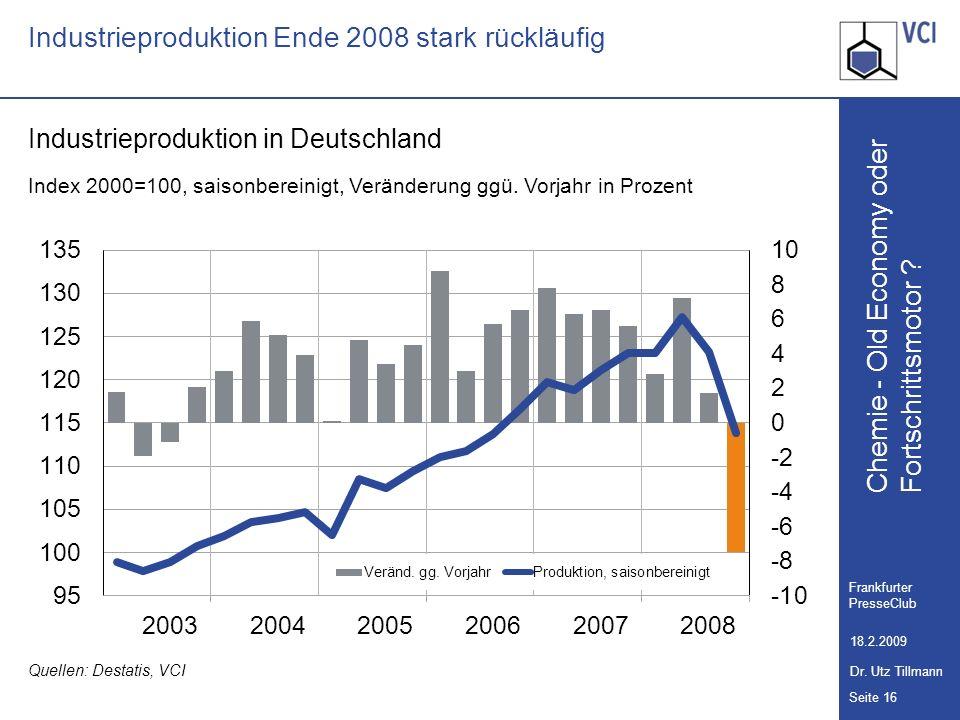 Chemie - Old Economy oder Seite 16 Frankfurter PresseClub 18.2.2009 Dr. Utz Tillmann Fortschrittsmotor ? Industrieproduktion Ende 2008 stark rückläufi