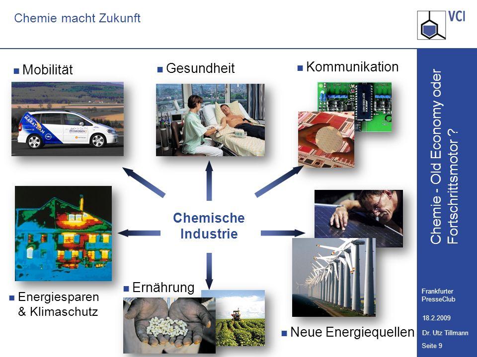 Chemie - Old Economy oder Seite 9 Frankfurter PresseClub 18.2.2009 Dr. Utz Tillmann Fortschrittsmotor ? Chemie macht Zukunft Mobilität Neue Energieque