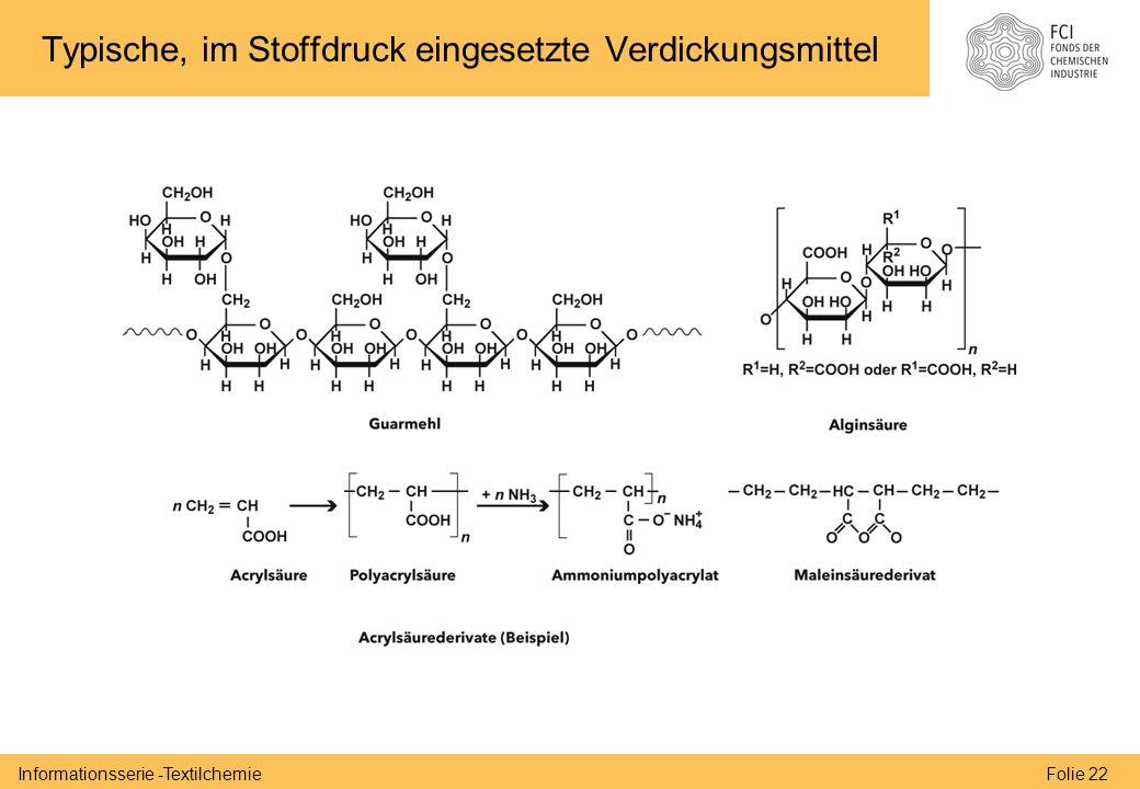 Folie 22Informationsserie -Textilchemie Typische, im Stoffdruck eingesetzte Verdickungsmittel