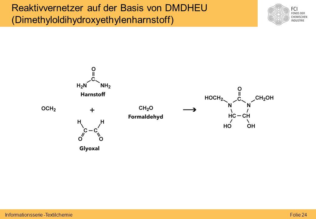 Folie 24Informationsserie -Textilchemie Reaktivvernetzer auf der Basis von DMDHEU (Dimethyloldihydroxyethylenharnstoff)