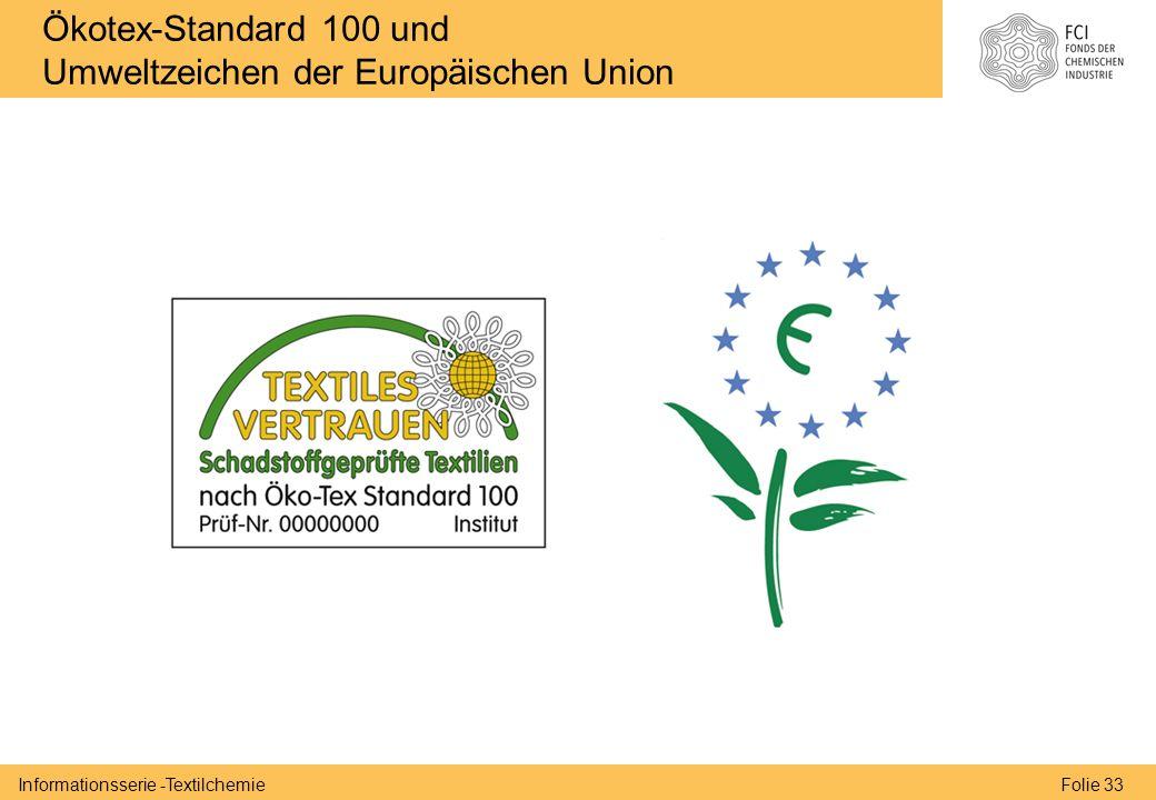 Folie 33Informationsserie -Textilchemie Ökotex-Standard 100 und Umweltzeichen der Europäischen Union
