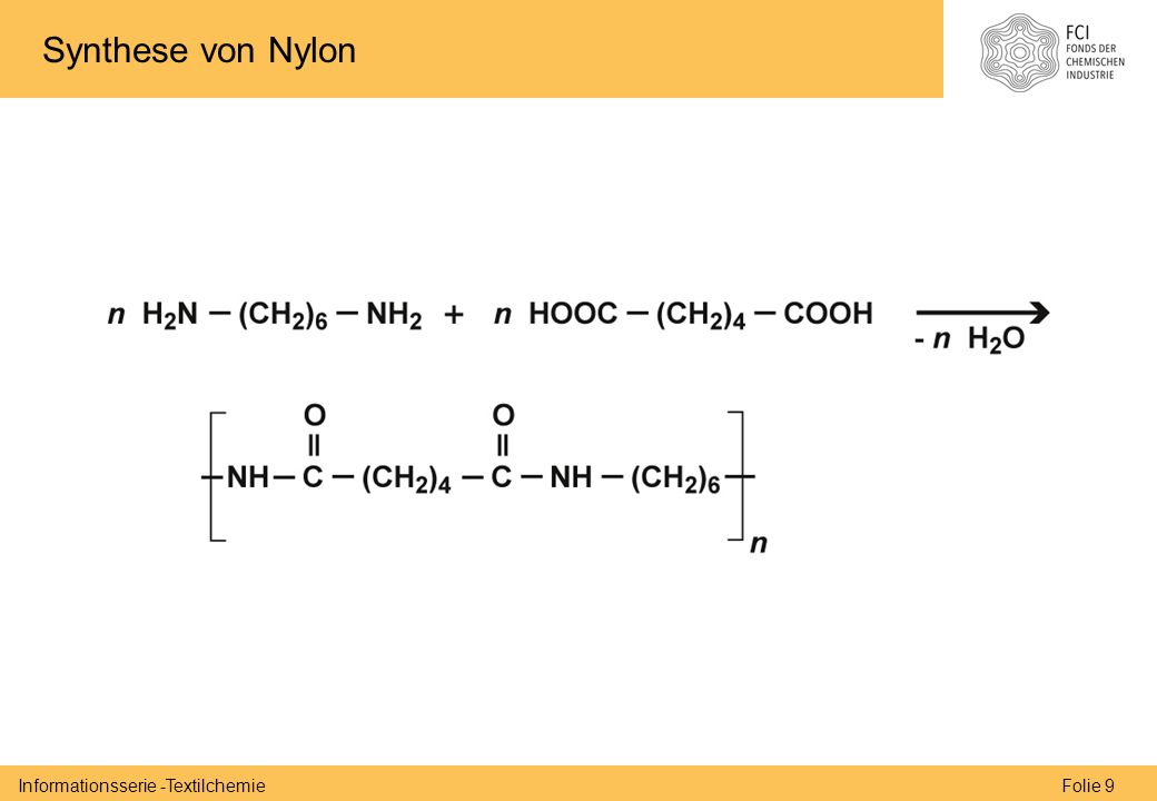 Folie 9Informationsserie -Textilchemie Synthese von Nylon