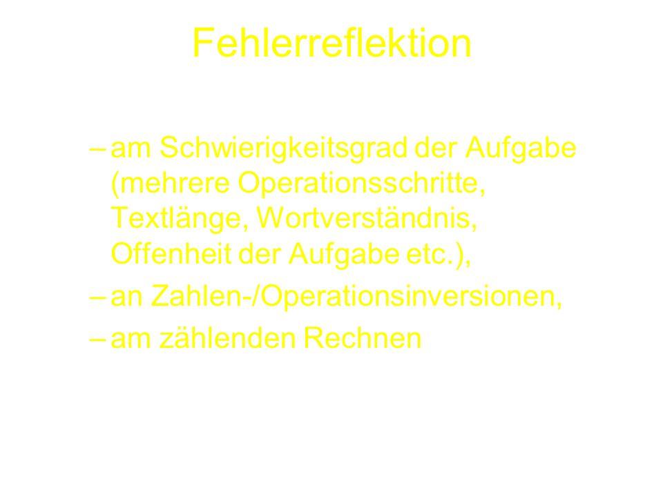 Fehlerreflektion –am Schwierigkeitsgrad der Aufgabe (mehrere Operationsschritte, Textlänge, Wortverständnis, Offenheit der Aufgabe etc.), –an Zahlen-/Operationsinversionen, –am zählenden Rechnen