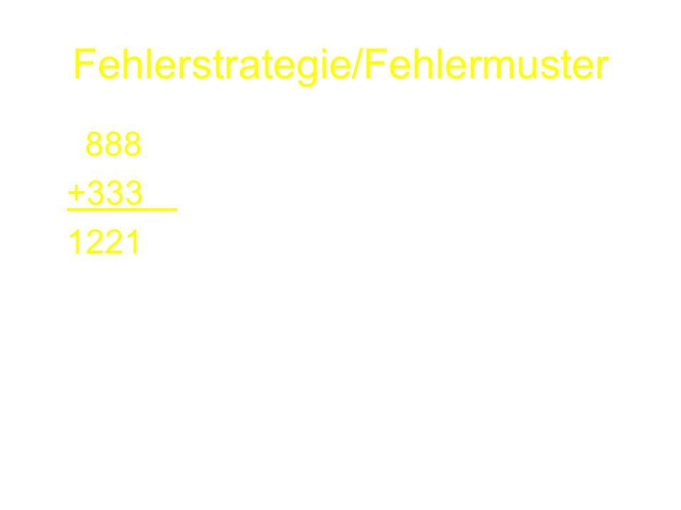 Fehlerstrategie/Fehlermuster 888 +333 1221