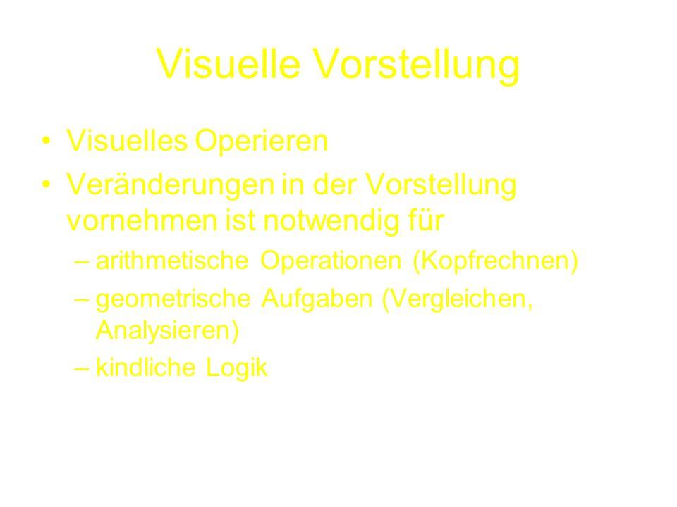 Visuelle Vorstellung Visuelles Operieren Veränderungen in der Vorstellung vornehmen ist notwendig für –arithmetische Operationen (Kopfrechnen) –geomet