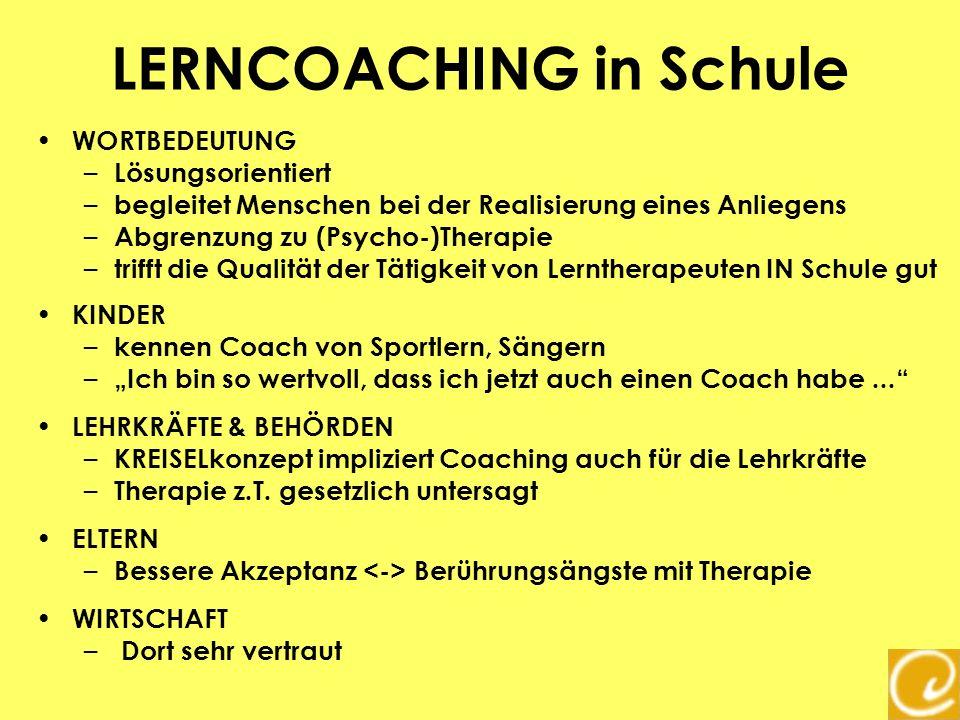 LERNCOACHING in Schule WORTBEDEUTUNG – Lösungsorientiert – begleitet Menschen bei der Realisierung eines Anliegens – Abgrenzung zu (Psycho-)Therapie –