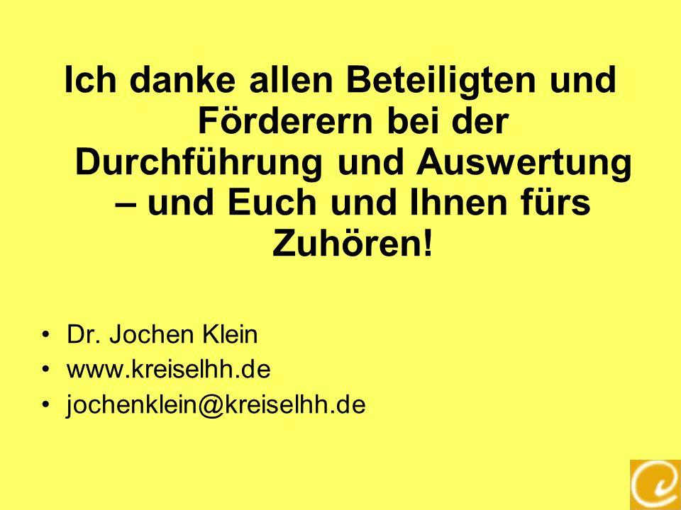 Ich danke allen Beteiligten und Förderern bei der Durchführung und Auswertung – und Euch und Ihnen fürs Zuhören! Dr. Jochen Klein www.kreiselhh.de joc