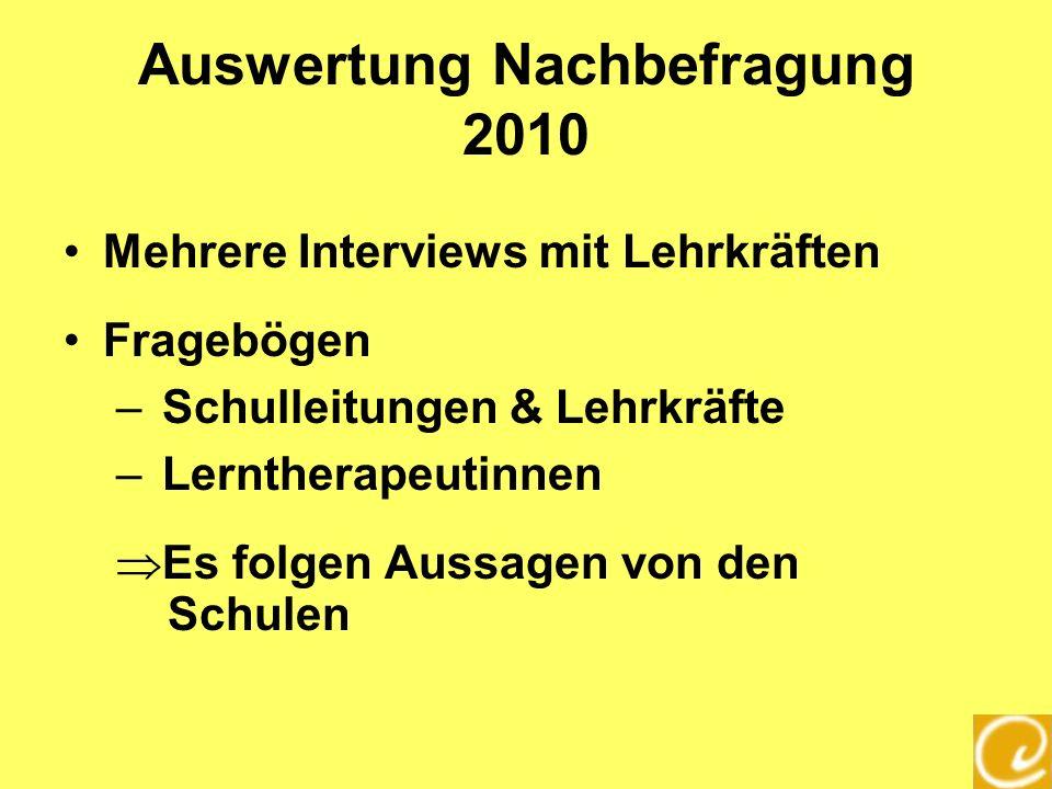 Auswertung Nachbefragung 2010 Mehrere Interviews mit Lehrkräften Fragebögen – Schulleitungen & Lehrkräfte – Lerntherapeutinnen Es folgen Aussagen von