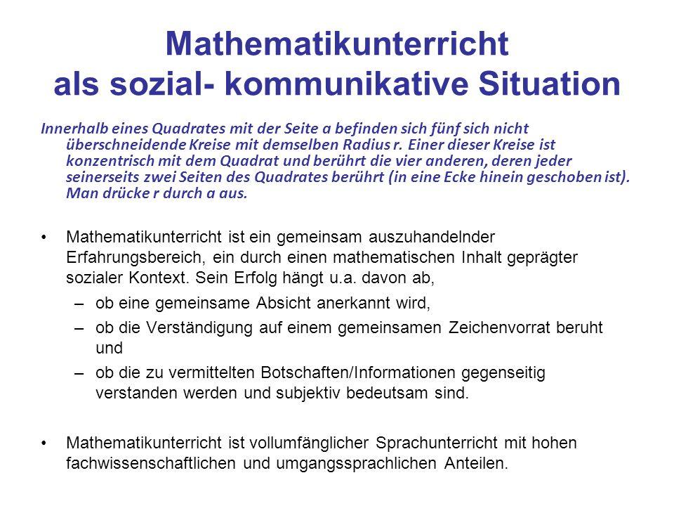 Mathematikunterricht als sozial- kommunikative Situation Innerhalb eines Quadrates mit der Seite a befinden sich fünf sich nicht überschneidende Kreis