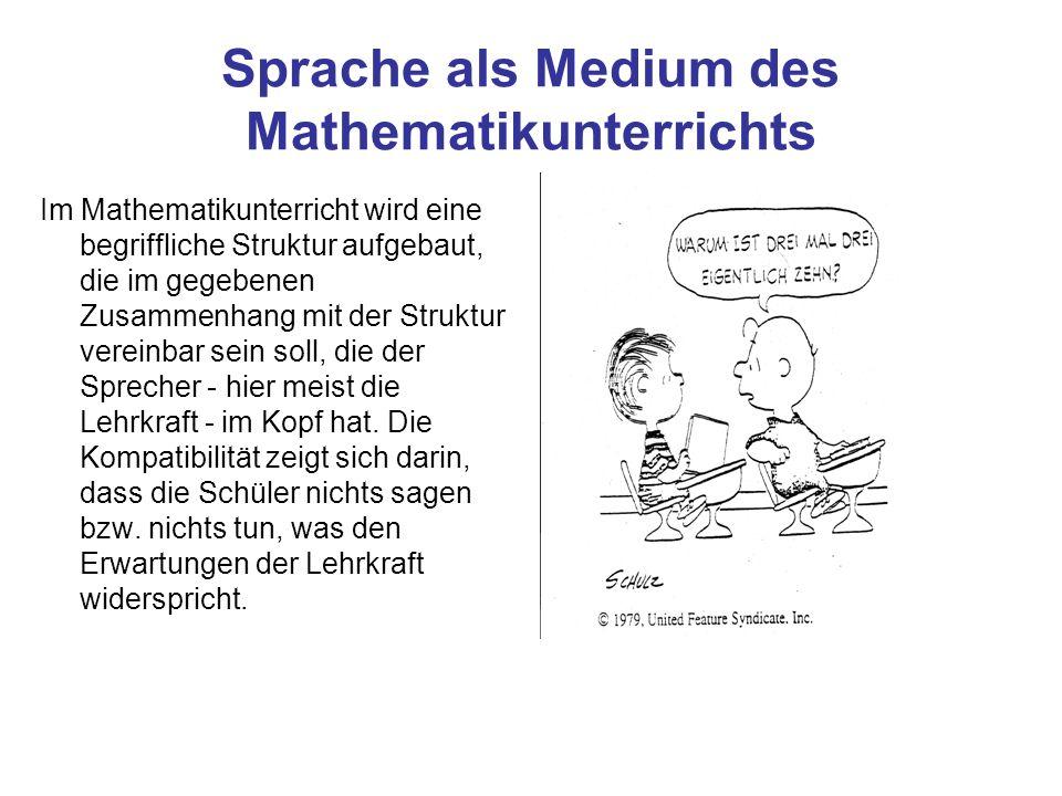 Sprache als Medium des Mathematikunterrichts Im Mathematikunterricht wird eine begriffliche Struktur aufgebaut, die im gegebenen Zusammenhang mit der