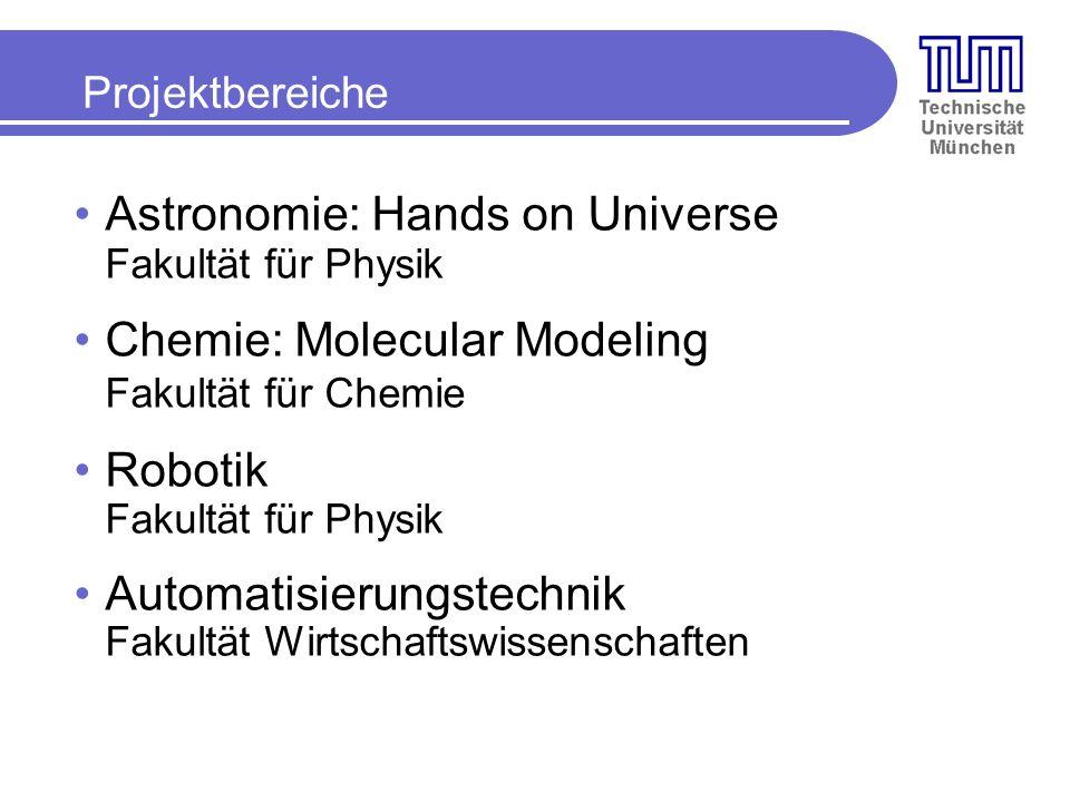 Projektbereiche Astronomie: Hands on Universe Fakultät für Physik Chemie: Molecular Modeling Fakultät für Chemie Robotik Fakultät für Physik Automatisierungstechnik Fakultät Wirtschaftswissenschaften