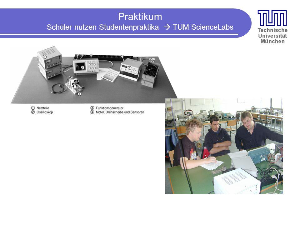 Praktikum Schüler nutzen Studentenpraktika TUM ScienceLabs