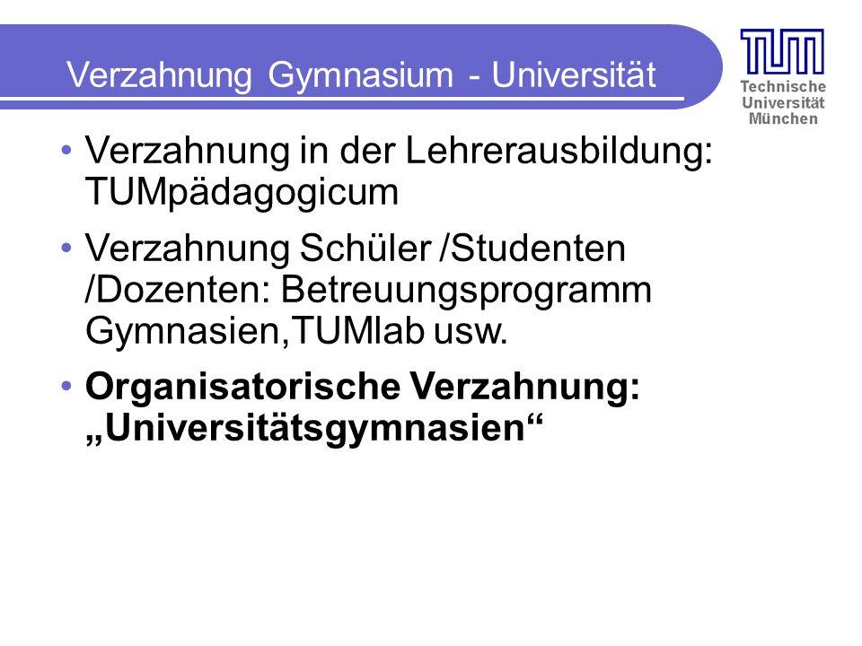 Verzahnung Gymnasium - Universität Verzahnung in der Lehrerausbildung: TUMpädagogicum Verzahnung Schüler /Studenten /Dozenten: Betreuungsprogramm Gymnasien,TUMlab usw.