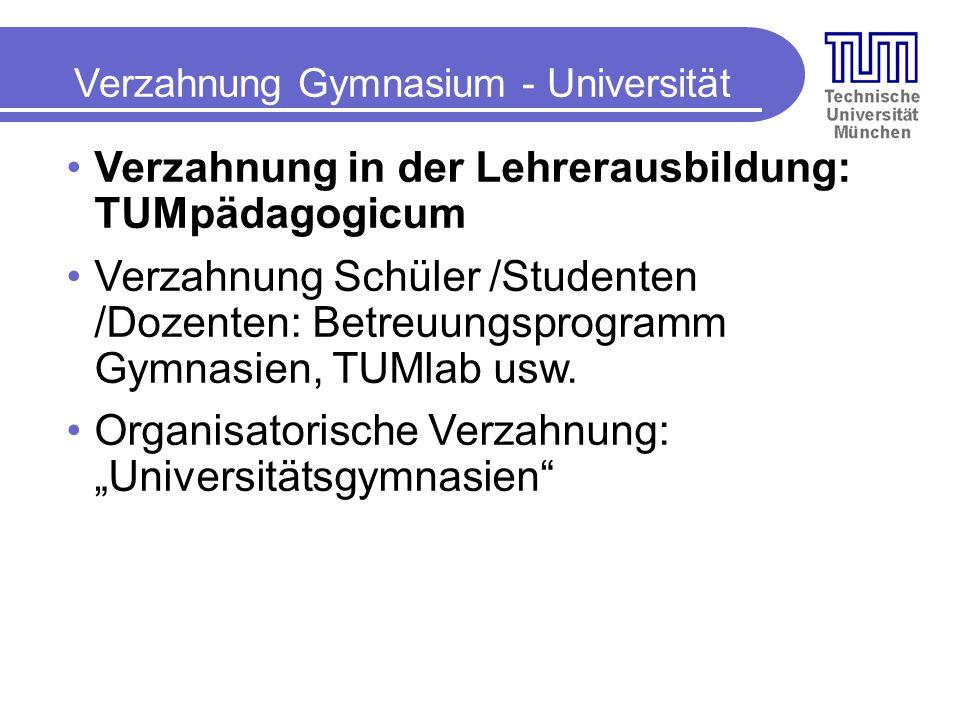 Verzahnung Gymnasium - Universität Verzahnung in der Lehrerausbildung: TUMpädagogicum Verzahnung Schüler /Studenten /Dozenten: Betreuungsprogramm Gymnasien, TUMlab usw.