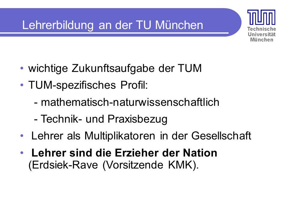 wichtige Zukunftsaufgabe der TUM TUM-spezifisches Profil: - mathematisch-naturwissenschaftlich - Technik- und Praxisbezug Lehrer als Multiplikatoren in der Gesellschaft Lehrer sind die Erzieher der Nation (Erdsiek-Rave (Vorsitzende KMK).