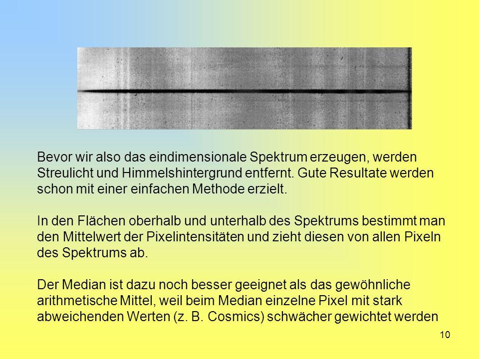 10 Bevor wir also das eindimensionale Spektrum erzeugen, werden Streulicht und Himmelshintergrund entfernt. Gute Resultate werden schon mit einer einf