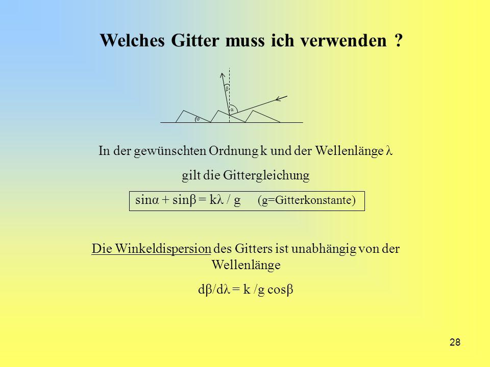 28 Welches Gitter muss ich verwenden ? α β φ In der gewünschten Ordnung k und der Wellenlänge λ gilt die Gittergleichung sinα + sinβ = kλ / g (g=Gitte