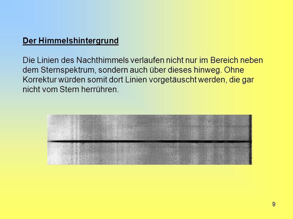 10 Bevor wir also das eindimensionale Spektrum erzeugen, werden Streulicht und Himmelshintergrund entfernt.