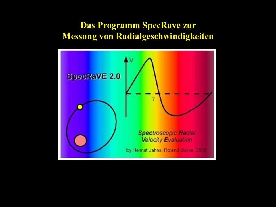 Das Programm SpecRave zur Messung von Radialgeschwindigkeiten