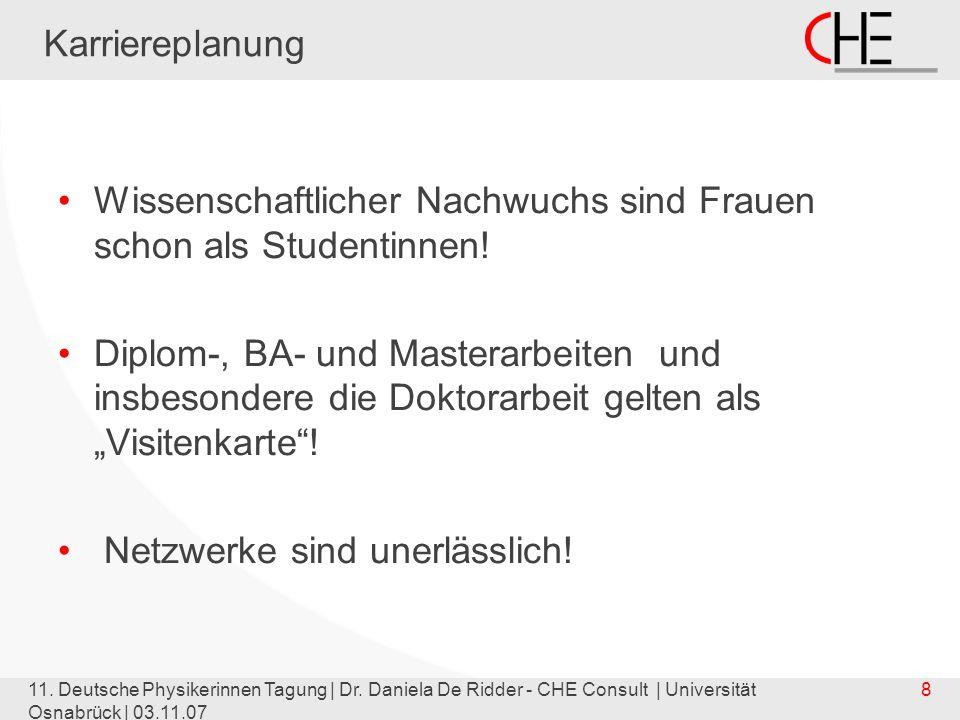 11. Deutsche Physikerinnen Tagung | Dr. Daniela De Ridder - CHE Consult | Universität Osnabrück | 03.11.07 8 Karriereplanung Wissenschaftlicher Nachwu