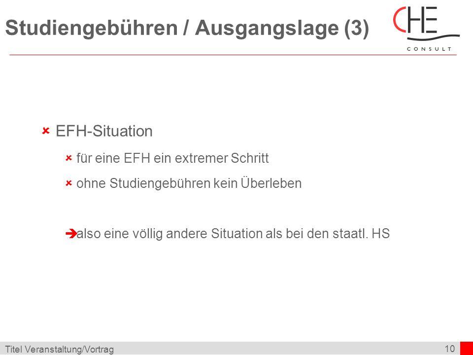 10 Titel Veranstaltung/Vortrag Studiengebühren / Ausgangslage (3) EFH-Situation für eine EFH ein extremer Schritt ohne Studiengebühren kein Überleben also eine völlig andere Situation als bei den staatl.