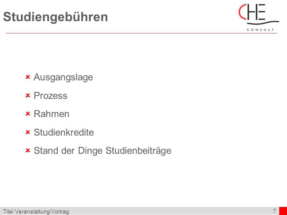 7 Titel Veranstaltung/Vortrag Studiengebühren Ausgangslage Prozess Rahmen Studienkredite Stand der Dinge Studienbeiträge