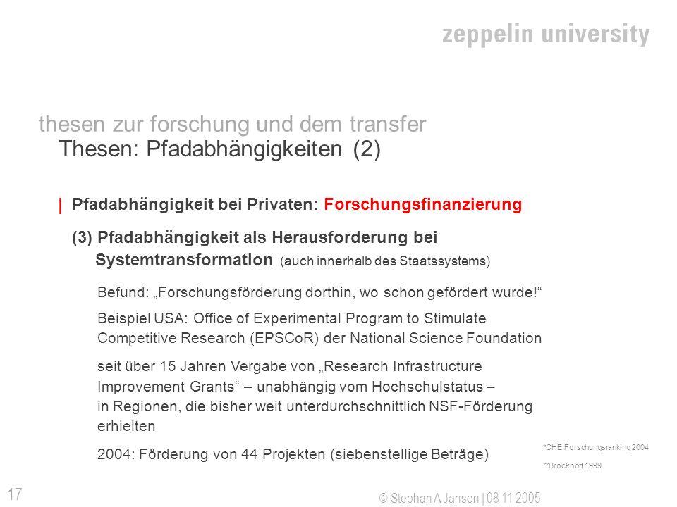 © Stephan A Jansen | 08 11 2005 17 Thesen: Pfadabhängigkeiten (2) |Pfadabhängigkeit bei Privaten: Forschungsfinanzierung (3) Pfadabhängigkeit als Herausforderung bei Systemtransformation (auch innerhalb des Staatssystems) Befund: Forschungsförderung dorthin, wo schon gefördert wurde.