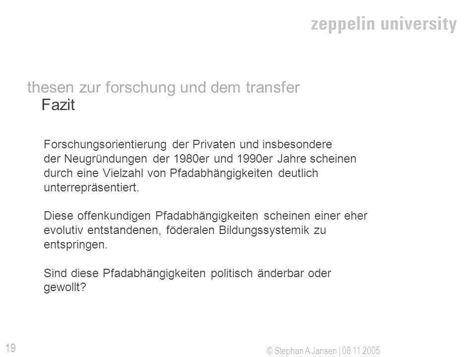© Stephan A Jansen | 08 11 2005 19 Fazit thesen zur forschung und dem transfer Forschungsorientierung der Privaten und insbesondere der Neugründungen