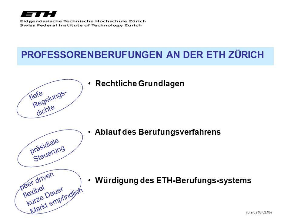 Rechtliche Grundlagen Ablauf des Berufungsverfahrens Würdigung des ETH-Berufungs-systems (Bre/ds 08.02.05) PROFESSORENBERUFUNGEN AN DER ETH ZÜRICH tie