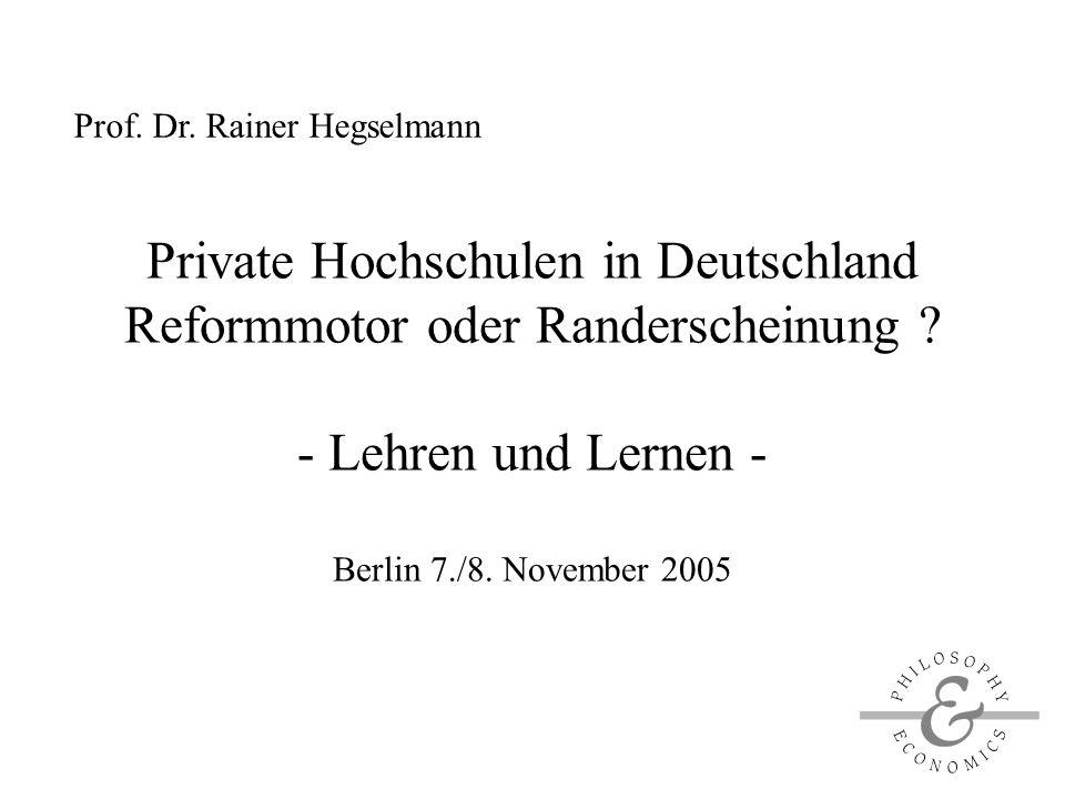 Private Hochschulen in Deutschland Reformmotor oder Randerscheinung .
