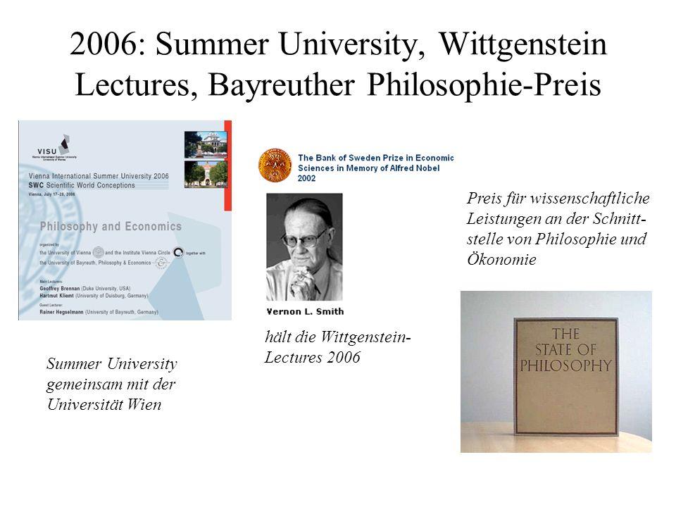 2006: Summer University, Wittgenstein Lectures, Bayreuther Philosophie-Preis hält die Wittgenstein- Lectures 2006 Summer University gemeinsam mit der Universität Wien Preis für wissenschaftliche Leistungen an der Schnitt- stelle von Philosophie und Ökonomie