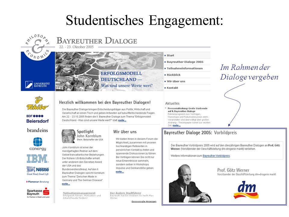 Studentisches Engagement: Im Rahmen der Dialoge vergeben