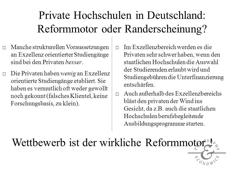 Private Hochschulen in Deutschland: Reformmotor oder Randerscheinung.