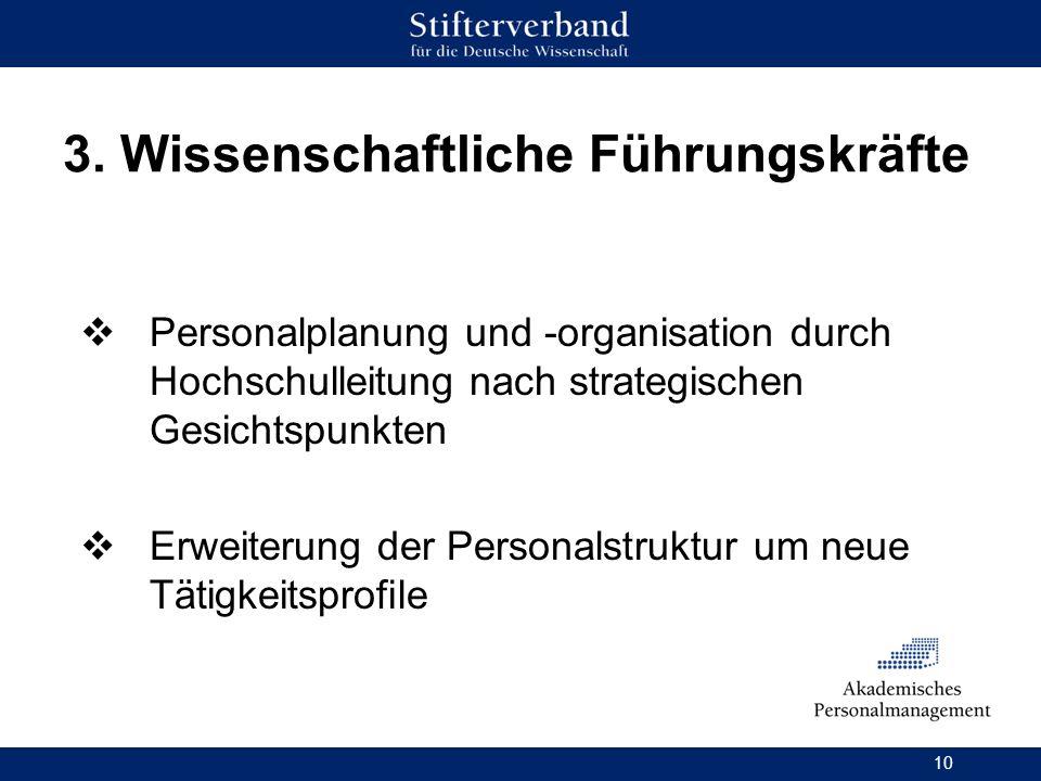 10 3. Wissenschaftliche Führungskräfte Personalplanung und -organisation durch Hochschulleitung nach strategischen Gesichtspunkten Erweiterung der Per