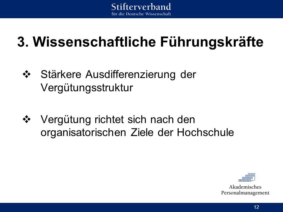 12 3. Wissenschaftliche Führungskräfte Stärkere Ausdifferenzierung der Vergütungsstruktur Vergütung richtet sich nach den organisatorischen Ziele der