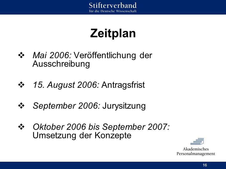 16 Zeitplan Mai 2006: Veröffentlichung der Ausschreibung 15. August 2006: Antragsfrist September 2006: Jurysitzung Oktober 2006 bis September 2007: Um