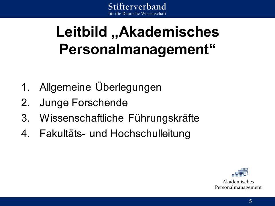 5 Leitbild Akademisches Personalmanagement 1.Allgemeine Überlegungen 2.Junge Forschende 3.Wissenschaftliche Führungskräfte 4.Fakultäts- und Hochschull
