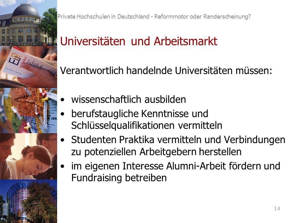 14 Private Hochschulen in Deutschland - Reformmotor oder Randerscheinung.