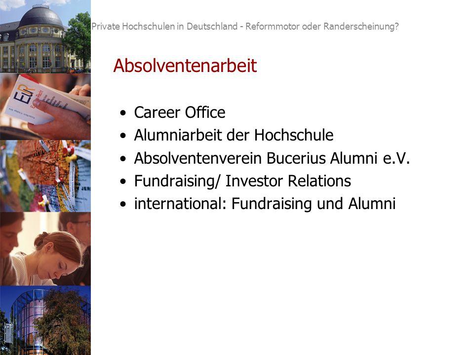 4 Absolventenarbeit Career Office Alumniarbeit der Hochschule Absolventenverein Bucerius Alumni e.V.