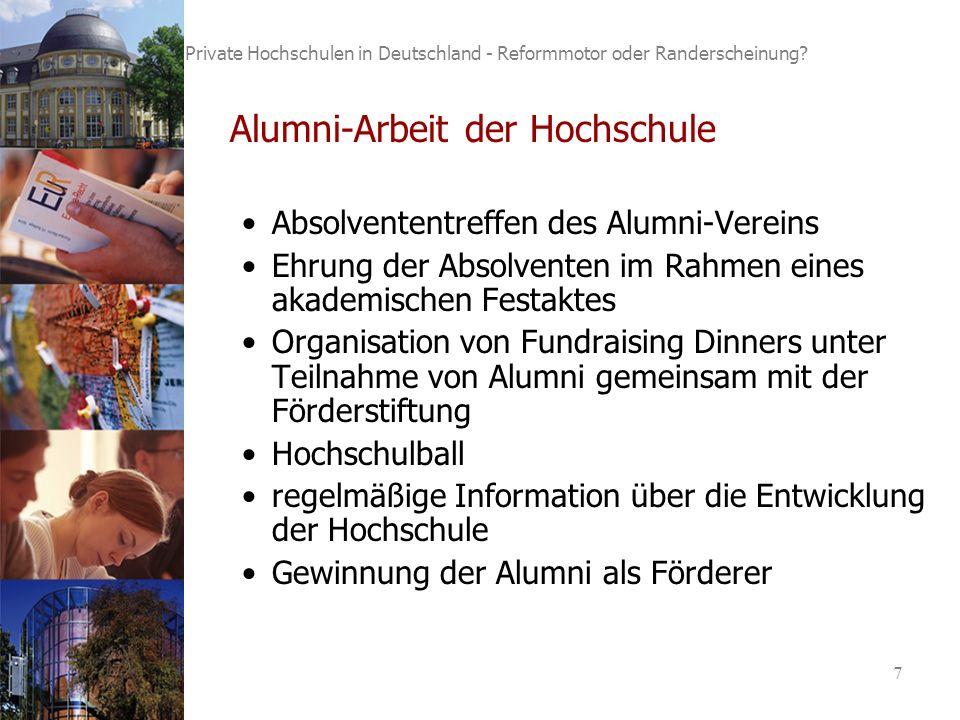 7 Private Hochschulen in Deutschland - Reformmotor oder Randerscheinung.