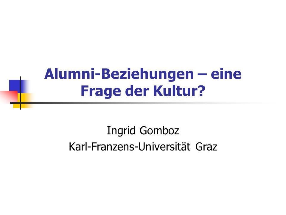 Alumni-Beziehungen – eine Frage der Kultur Ingrid Gomboz Karl-Franzens-Universität Graz